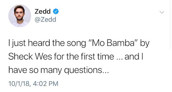 "Zedd attacks ""Mo Bamba"" by Sheck Wes, A-Trak and Take A DayTrip"