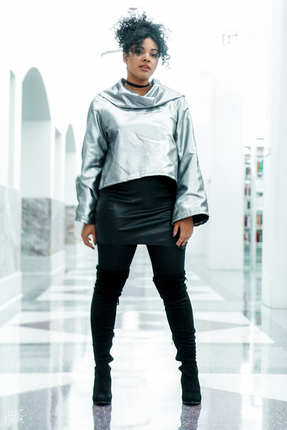 Bianca is wearing the Eugene Taylor bell crop top jacket   Photo by Clyde Munroe